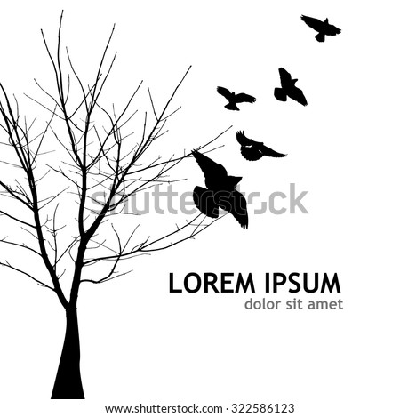 Bare tree with flying birds. Vector - stock vector