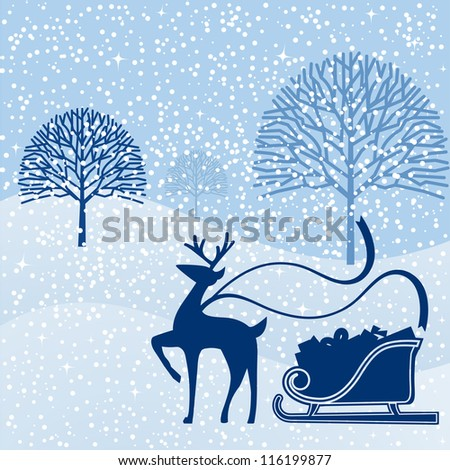Bare trees in landscape with reindeer and sleigh with gifts - stock vector