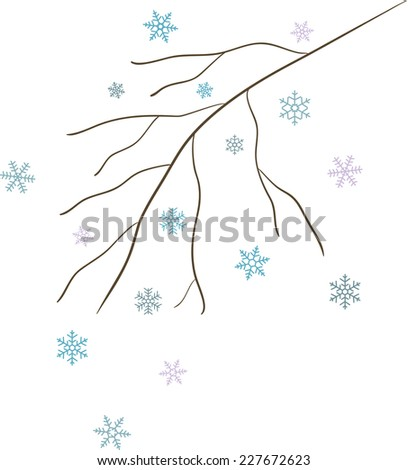 Bare winter abstract branch with blue snowflakes - stock vector