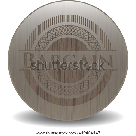 Bargain retro wooden emblem - stock vector