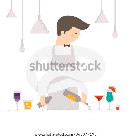 Barman in the bar with alcoholic beverages. Profession - Bartender at the cafe makes cocktails. Vector illustration isolated on a white background.  - stock vector