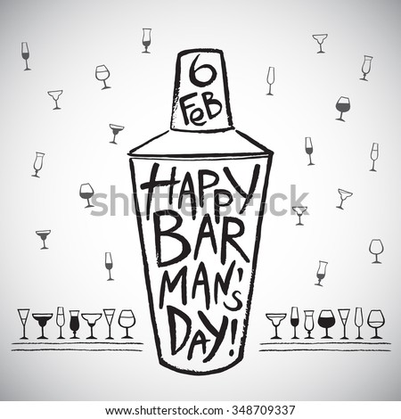 Barman's day vector illustration. Big brush drawn shaker with greetings and date. Hand drawn International Barman day card - shaker and pattern background with tiny doodle style cocktail glasses. - stock vector