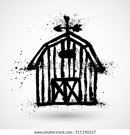 Barn grunge house icon or sign isolated on white background. Vector illustration. - stock vector