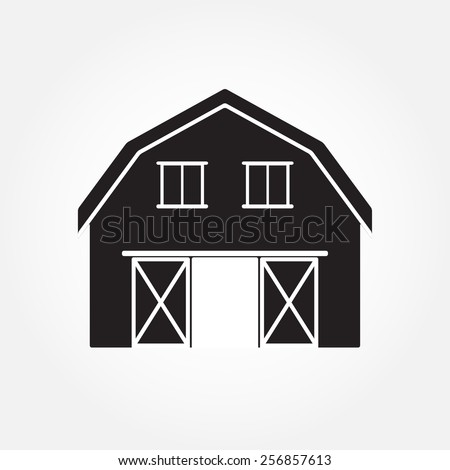 Barn House Icon Or Sign Isolated On White Background Vector