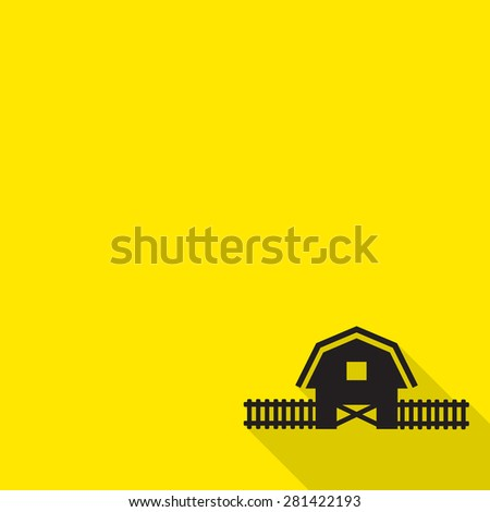 Barn house icon with long shadow. - stock vector