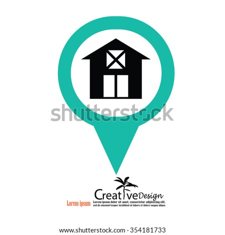 Barn house icon with map pointer. Vector illustration. - stock vector