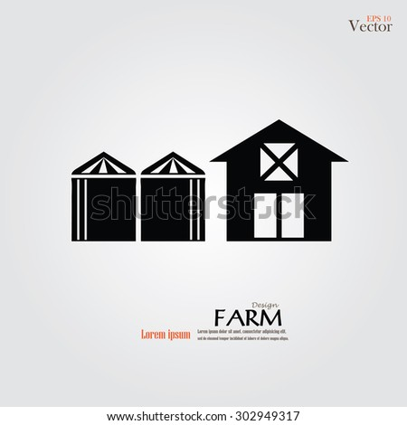 Barn house with silo icon on gray background. Vector illustration. - stock vector