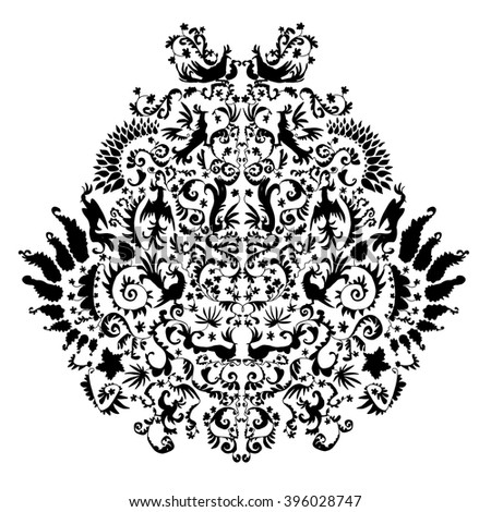 Baroque curly elements on pure background. Original illustration with flowers, birds and decorative elements. Hand drawn theme with oriental motives. Good for background, fabric, paper design.  - stock vector