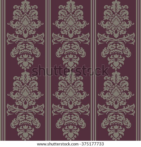 Baroque Pattern ornament. Vintage floral style damask element for texture, fabric, wallpaper, or invitation cards. Red color. Vector - stock vector