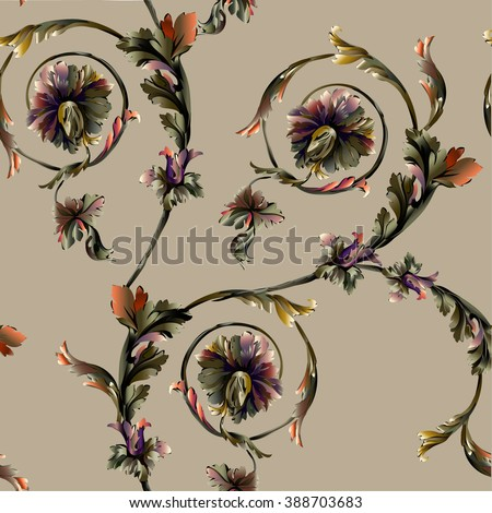Baroque pattern with brunch and scrolls on beige background - stock vector