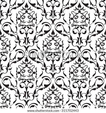 Baroque seamless art pattern on white - stock vector
