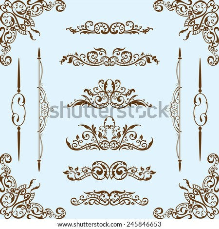 Baroque set is on blue - stock vector