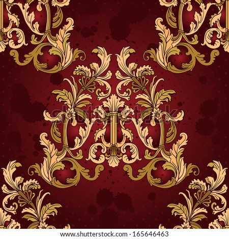 Baroque style floral seamless vector pattern. - stock vector