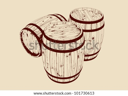 barrel drawn vector llustration - stock vector