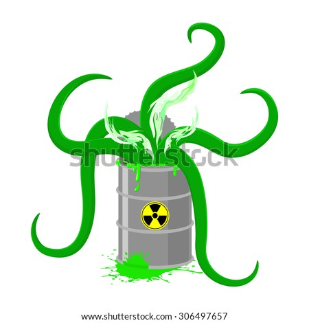 Barrel of Toxic waste and green tentacles. Vector illustration of a Biohazard container. Gray radioactive barrel - stock vector