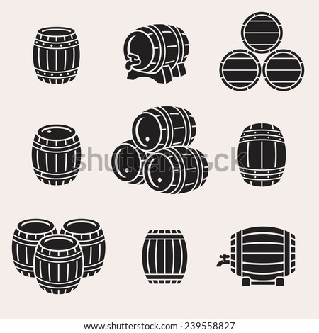 Barrels set. Vector  - stock vector