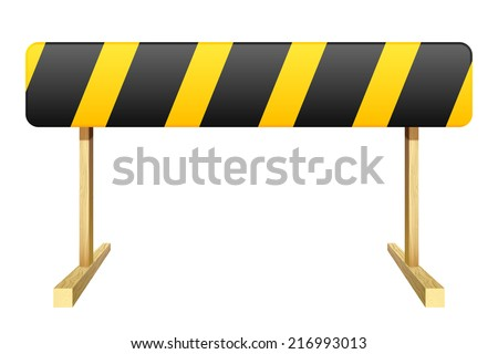 Barrier isolated on white background. Black and yellow stripe. Vector illustration. - stock vector
