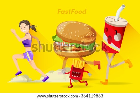 Barriers of healthy people. Who people are dieting,Often tempted by junk food. - stock vector
