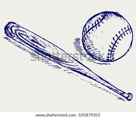 Baseball and Bat - stock vector
