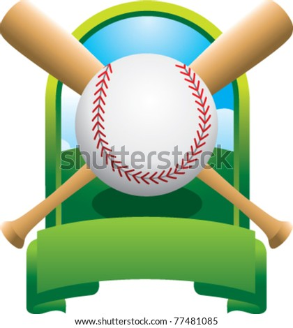Baseball and crossed bats in green display - stock vector