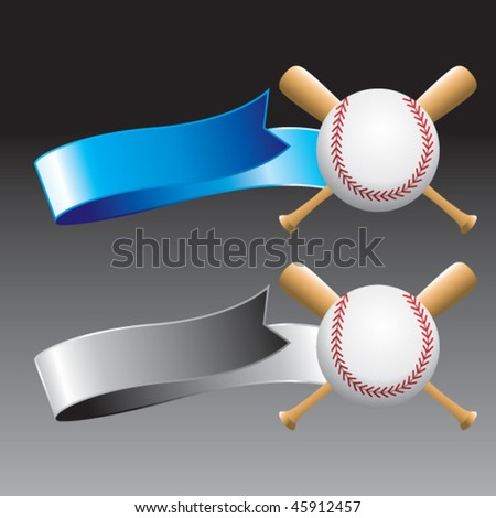 baseball and crossed bats on blue and gray ribbons - stock vector
