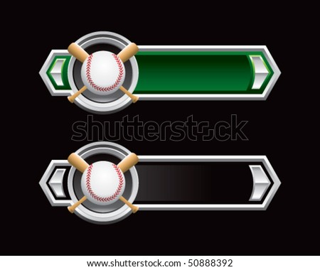 baseball and crossed bats on green and black arrows - stock vector