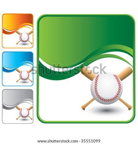 baseball and crossed bats on multiple wave background templates - stock vector
