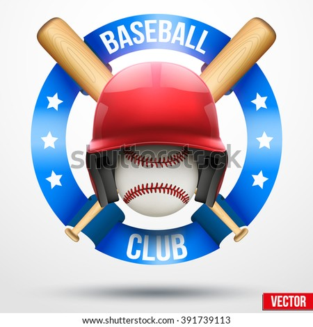 Baseball ball and and helmet wooden bats with ribbons. Sporting Symbol and mascot. Vector Illustration Isolated on white background. - stock vector