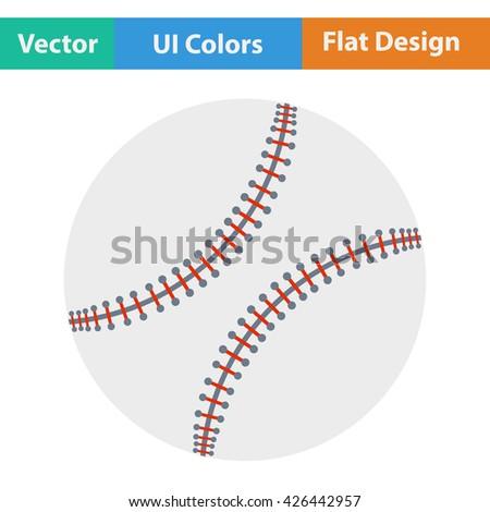 Baseball ball icon. Flat design. Vector illustration. - stock vector