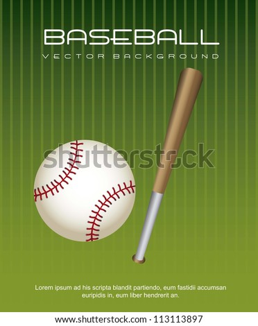 baseball ball with bat over green background. vector illustration - stock vector