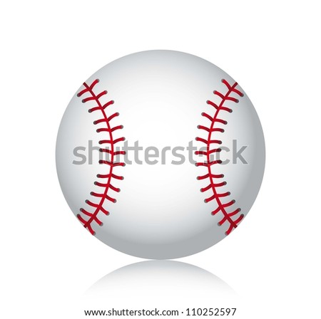 baseball ball with shadow over white background. vector illustration - stock vector
