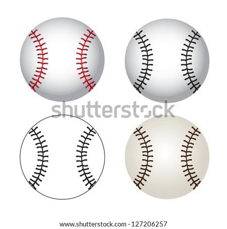 Baseball balls over white background vector illustration - stock vector