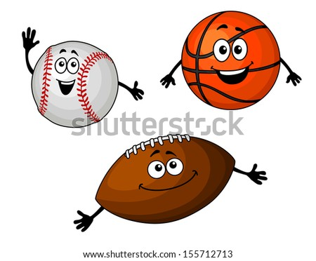 Baseball, basketball and rugby balls set in cartoon style or idea of logo. Jpeg version also available in gallery - stock vector