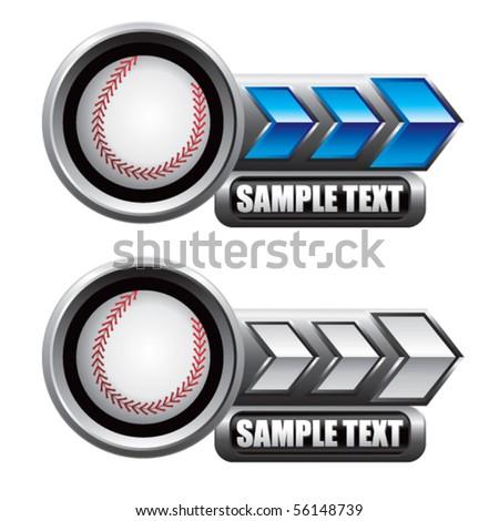 baseball blue and white arrow nameplates - stock vector