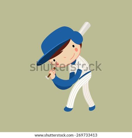 baseball boy. hitter / batter character. vector illustration - stock vector