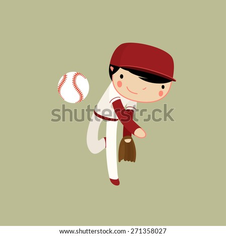 baseball boy. pitcher character in action. vector illustration - stock vector