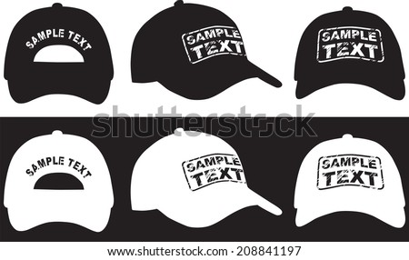 Baseball cap, front, back and side view. Vector illustration.  - stock vector