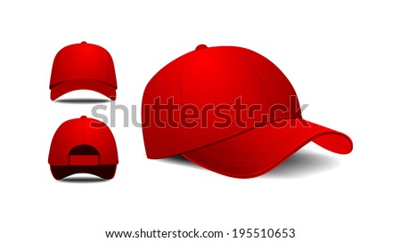 Baseball cap. Front, left, back view. Vector illustration on white background - stock vector