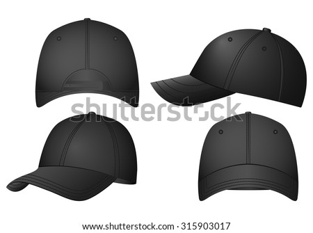 Baseball caps set on a white background. - stock vector