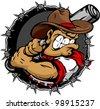 Baseball Cartoon Cowboy Vector Illustration - stock vector