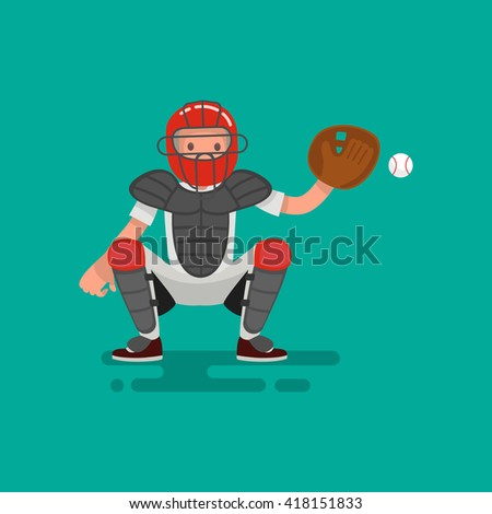 Baseball  catcher player catches the ball . Vector Illustration flat design - stock vector