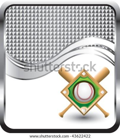 baseball diamond and bats silver wave background - stock vector