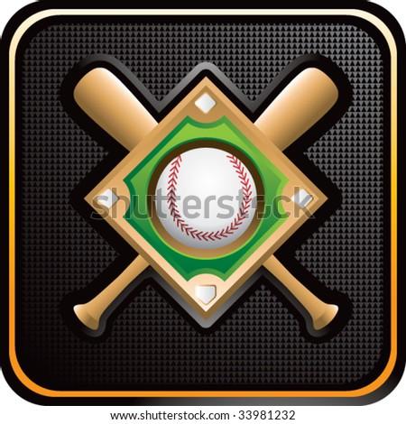 baseball diamond and crossed bats on glossy web button - stock vector