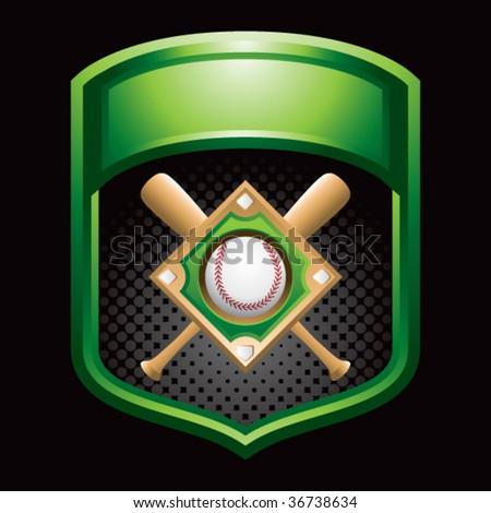 baseball diamond green display - stock vector