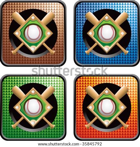 baseball diamond on multicolored web icons - stock vector