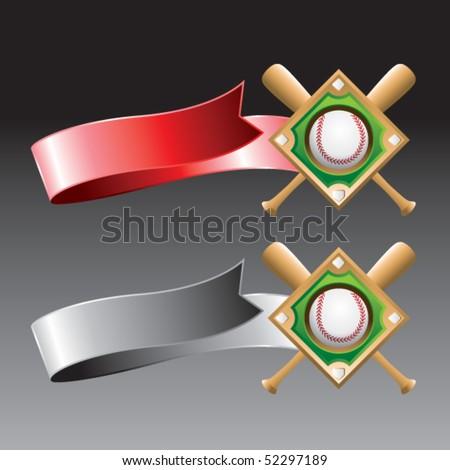 baseball diamond red and gray ribbons - stock vector