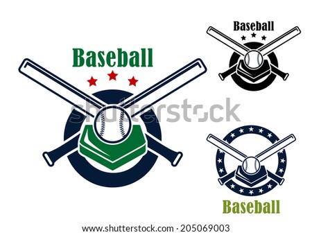Baseball emblems and symbols with base, crossed bats ans ball with text - Baseball - for sports logo design - stock vector