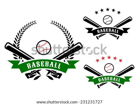 Baseball emblems or badges with crossed bats and a ball behind a ribbon banner containing the word Baseball on with a laurel wreath - stock vector