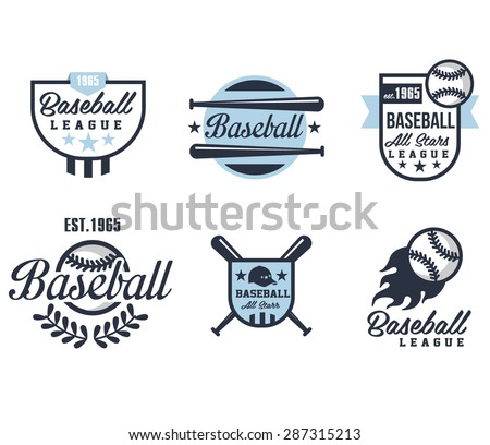 Baseball emblems or badges with various designs vector illustration - stock vector