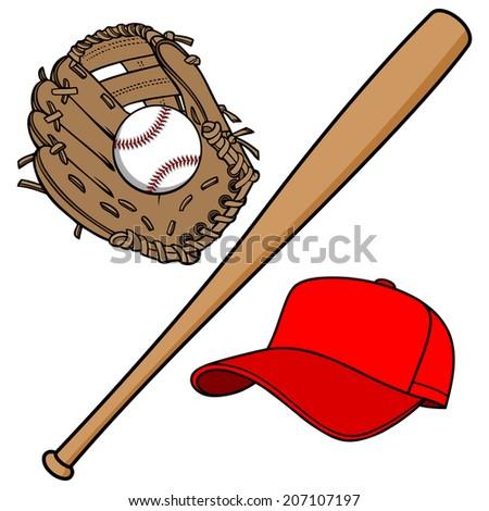 Baseball Equipment - stock vector